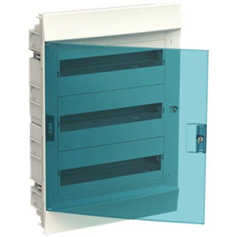 Coffret à encastrer blanc ABB 54 Modules IP40 porte blue petrol
