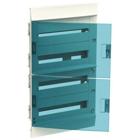 Coffret à encastrer blanc ABB 72 Modules IP40 porte blue petrol