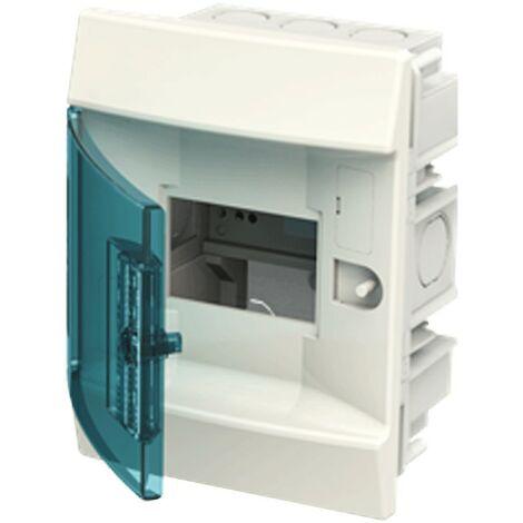 Coffret à encastrer blanche ABB 4 Modules IP40 porte blue petrol