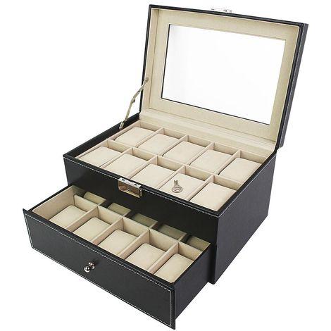 Coffret à Montres, Boite pour Montres et Bracelets, 20 montres avec vitre et tiroir, Noir/Beige, Dimensions: 28,5 x 20,5 x 15 cm