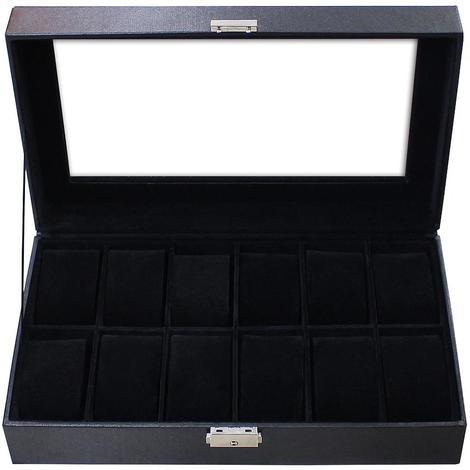 Coffret à Montres, Boite pour Montres et Bracelets, Noir, 12 montres et vitre, Dimensions: 30 x 20 x 8 cm