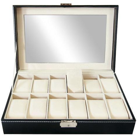 Coffret à Montres, Boite pour Montres et Bracelets, Noir/Beige, 12 montres et vitre, Dimensions: 30 x 20 x 8 cm
