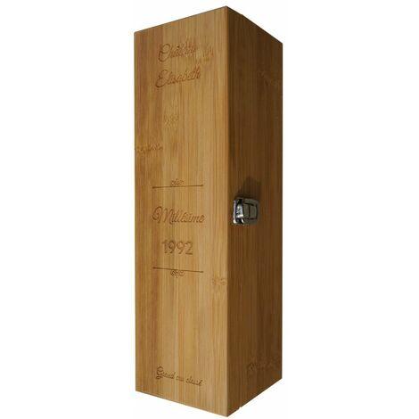 Coffret à vin en bambou personnalisée avec prénom Château, Millésime - Caisse vin bambou avec 4 pièces de service - Bambou - 11,5 - Bambou