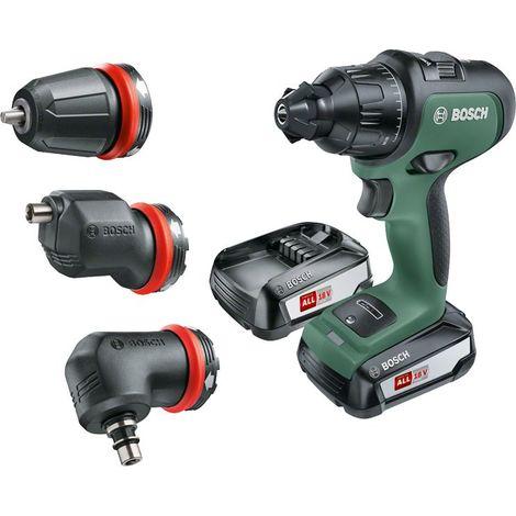 Coffret AdvancedImpact 18 Bosch - Livré avec: 2 batteries 18V 2,5Ah, 1 chargeur, adaptateurs pour mandrins, 1 mandrin excentré, 1 renvoi d'angle, 1 embout de visseuse