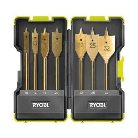 Coffret antichocs RYOBI 7 mèches plates pour perçage bois RAK07SB