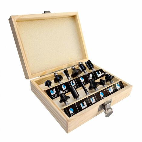 Coffret assortiment de 12 mèches de défonceuse carbure Q. 6 mm pour bois, panneaux - Diamwood