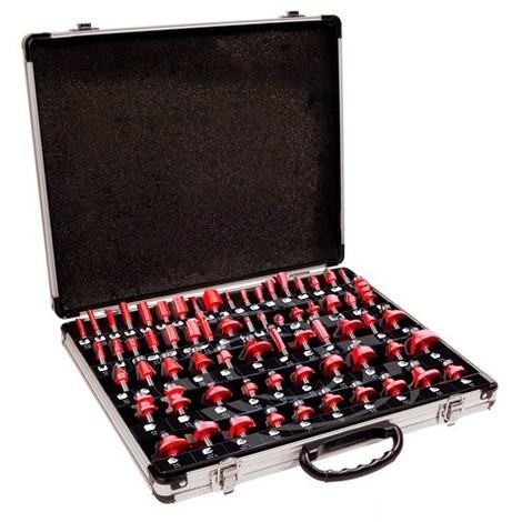 Coffret assortiment de 66 mèches de défonceuse Q. 8 mm - Tous Profils - 600033 - Sidamo