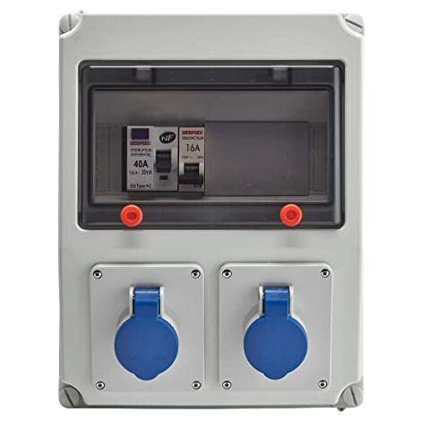 Coffret atelier étanche IP65 Inter-Diff + disjoncteur + prise