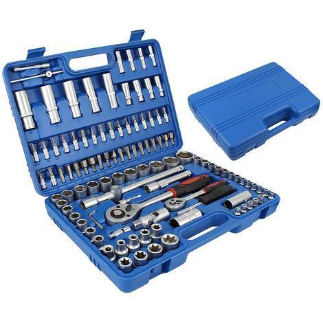 Coffret Clé à Cliquet et Embouts, Jeu de Clés à Douille, 108 pièces, avec une mallette bleue, Dimensions: 38,5 x 27 x 8,5 cm