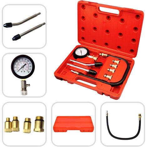 Coffret Compressiomètre, Set de 9 Pièces pour Tester La Compression, 6 pièces, avec une mallette rouge, Matériau: Acier C45