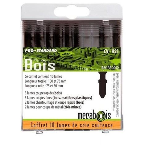 Coffret de 10 lames de scie sauteuse Bois/Métal - Attache en T - 330002 - Sidamo