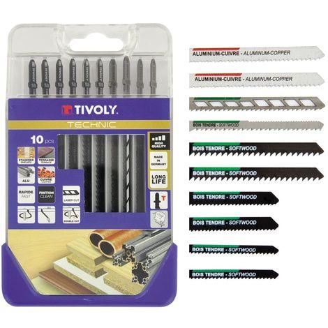 Coffret de 10 lames de scie Sauteuse pour le Bois durs, mélaminés, métal, plastiques Attache standard type T -TIVOLY TECHNIC