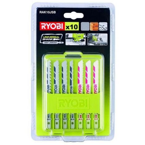 Coffret de 10 lames pour scie sauteuse RYOBI 102 mm bois - plastique - bimétal RAK10JSB