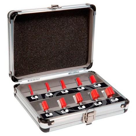 Coffret de 10 mèches de défonceuse droites à rainurer Q. 8 mm x D.6 à 25 mm - 600010 - Sidamo - -