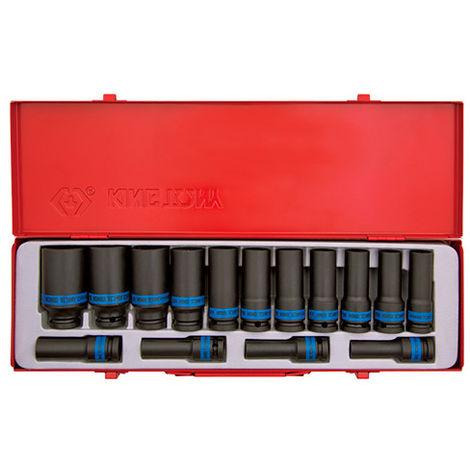 Coffret de 15 douilles à chocs longues 1/2 métriques - Version 21-24-27-30-32 mm