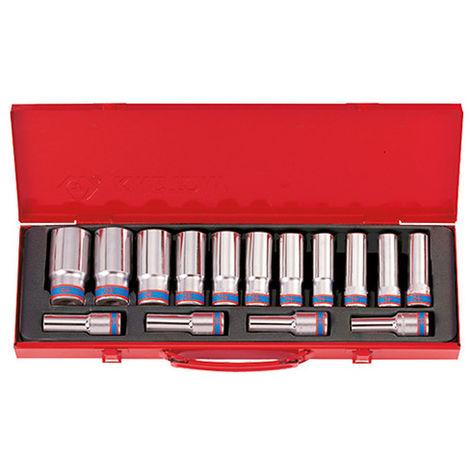 Coffret de 15 douilles longues métriques 1/2 - 10 à 32 mm L. 77 mm