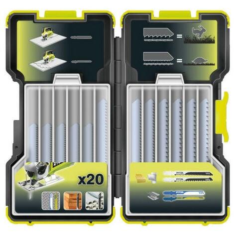 Coffret de 20 lames scie sauteuse RYOBI OnePlus panachées bois et métal 75-100mm RAK20JB