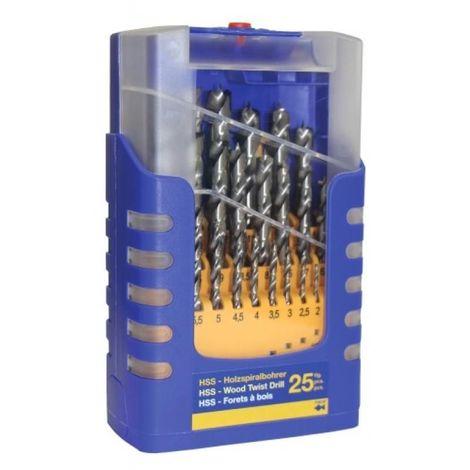 Coffret de 25 forets bois, hss queue cylindrique de diamètre 1 à 13 mm