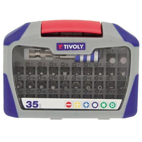 """main image of """"Coffret de 35 embouts de vissage TIVOLY HEXA 6.35 25mm + embout MAGNETIC Tous les embouts les plus standard Haute résistance"""""""