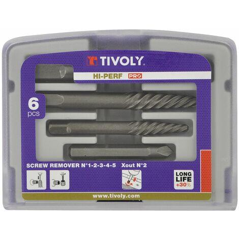Coffret de 5 extracteurs de Vis, boulons, goujons cassés - 5 tailles Pour Vis cassées de Ø3 à 18mm TIVOLY TECHNIC