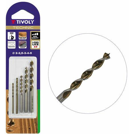 Coffret de 5 foret Bois Ø2-2.5-3-4-5mm en Acier HSS Perçage très précis des bois durs ipé, teck, chêne GOLD TIVOLY TECHNIC