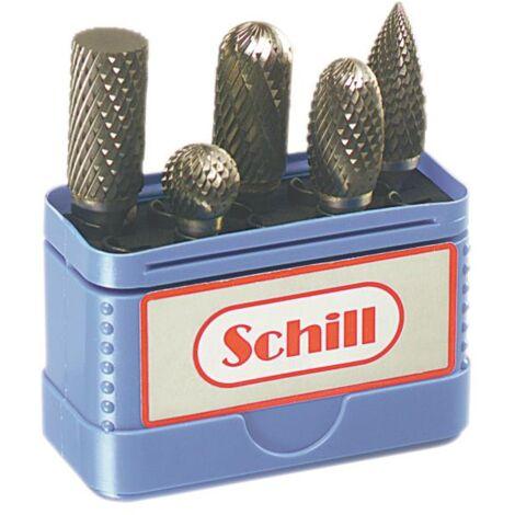 Coffret de 5 fraises limes carbure P9,5 denture croisée Schill 00670P9.5A