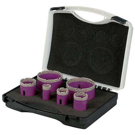 Coffret de 6 trépans diamant à sec pour meuleuse M14 - D. 22 - 30 - 35 - 42 - 68 - 75 mm - Céramique/Grès/Granit