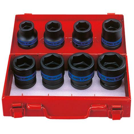 Coffret de 8 douilles à choc 3/4 métriques - 19 à 38 mm DIN3121/3129