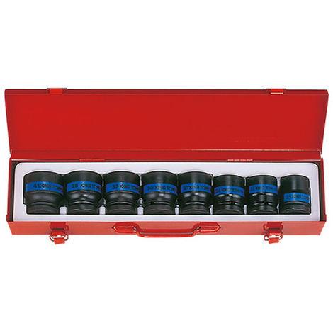 Coffret de 8 douilles à choc 3/4 métriques - 21 à 41 mm