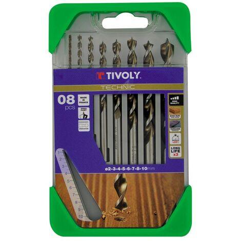 Coffret de 8 forets BOIS TIVOLY Ø2-3-4-5-6-7-8-10mm Acier HSS Perçage très précis des bois durs ipé, teck, chêne GOLD