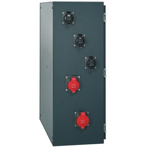 Coffret de chantier P17 IP66 IK10 63A 400V~ avec 6 prises brochage domestique, 2 prises 16A 3P+N+T et 2 prises 32A (058964)