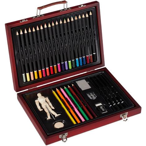 Coffret De Coloriage A 35 Pces Set Pour Professionnel Avec Mannequin Taille Crayon Gomme Rouge 1100267421153469