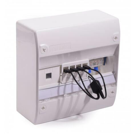 Coffret De Communication Grade 1 - TV 4 RJ45 Quadrupleur téléphonique NALTO