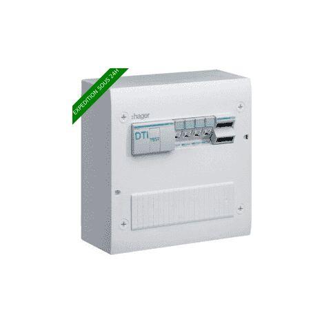 Coffret de communication semi-équipé - 4 RJ45 - Grade 2TV - Hager