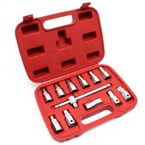 Coffret de douille de vidange 12 pièces Kit de clés Outil pour Huile de voiture et d'automobile