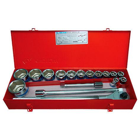 Coffret de douilles 3/4 métriques avec accessoires - 17 pièces