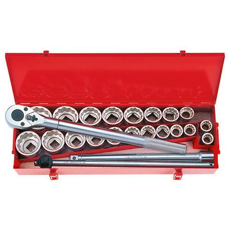 Coffret de douilles 3/4 métriques et en pouces avec accessoires - 24 pièces