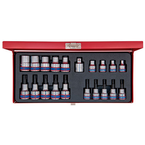 Coffret de douilles et douilles tournevis Torx Resistorx 3/8 1/2 et accessoires - 20 pièces