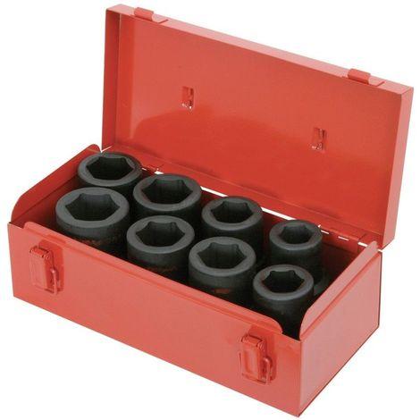 Coffret de douilles longues à chocs 1'', 24 à 38 mm, 8 pièces