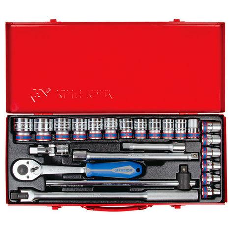 Coffret de douilles métriques et accessoires 1/2 cliquet 11° - 24 pièces