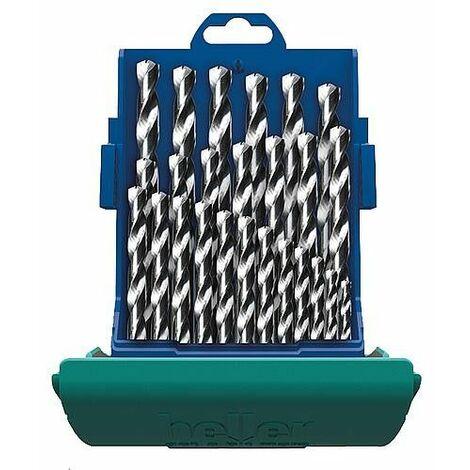 Coffret de forets inox cobalt heller® HSS-CO DIN 338 RN, ø 1,0-13,0, 25 pièces