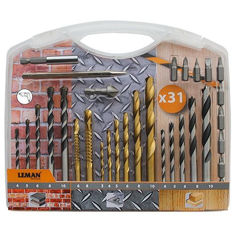 Coffret de forets pour bois - béton - métal - 31 pièces - 808.000.31 - Leman