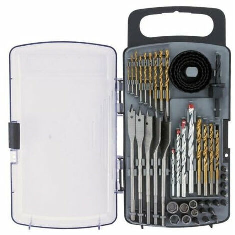 Coffret de perçage vissage 46 Pcs Titane forets scie cloche douilles embouts vis outils atelier bricolage - Or