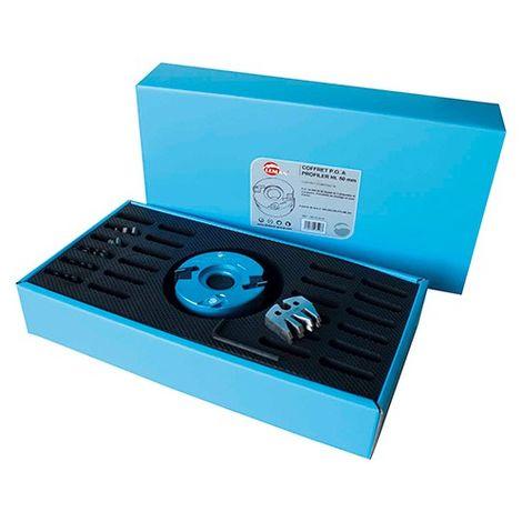 Coffret de porte-outils à profiler D. 100 mm Al. 30 mm Ht. 50 mm et 12 Jeux de fers profilés - 093.50.30.12 - Leman - -