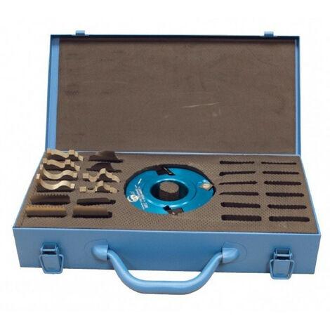 Coffret de porte-outils à profiler D. 120 mm Al. 50 mm Ht. 50 mm et 6 Jeux de fers profilés - 123.50.50.06 - Leman - -