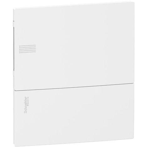 Coffret de répartition encastré 1x8 modules 1R avec porte opaque et bornier terre pour placo Mini Pragma SCHNEIDER MIP21108
