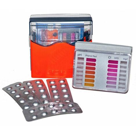 Coffret de Test D'eau pour Piscine au Chlore- Teste par Pastilles - Analyse de Votre Piscine