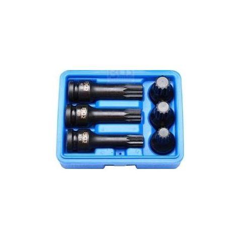 Coffret douilles embout spline à choc lg75 et 40mm m14 16 18
