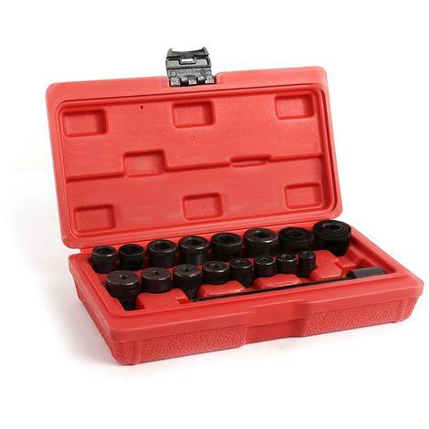 Coffret d'Outils pour Centrage d'Embrayage, 17 Pièces de Réparation pour Embrayage, 17 pièces, avec une mallette rouge, Matériau: Acier C45