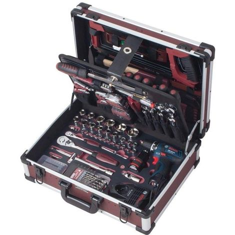 Coffret d'outils Pro-Line KRAFTWERK 264 pièces + perceuse visseuse BOSCH 1/4 1/2 - 3949